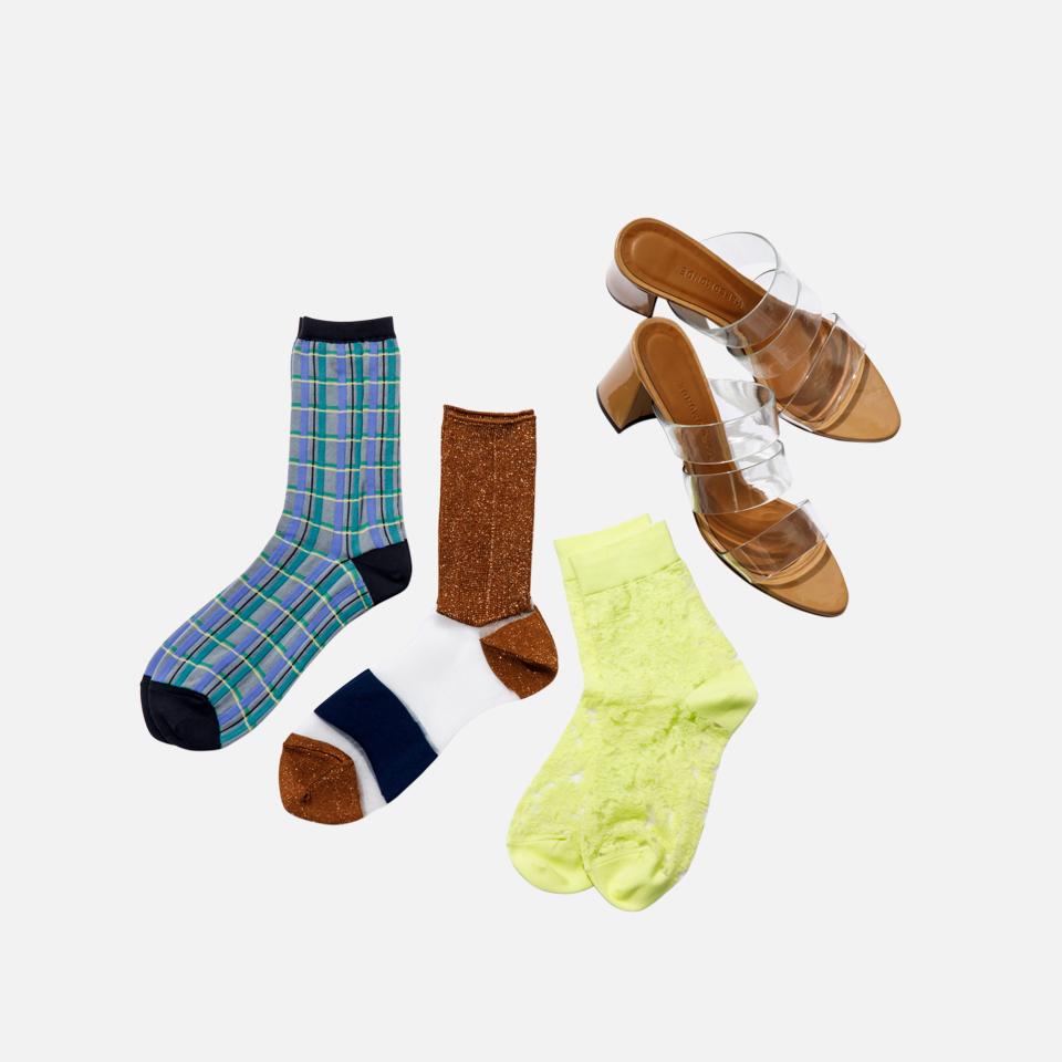 透明短袜&鞋跟凉鞋