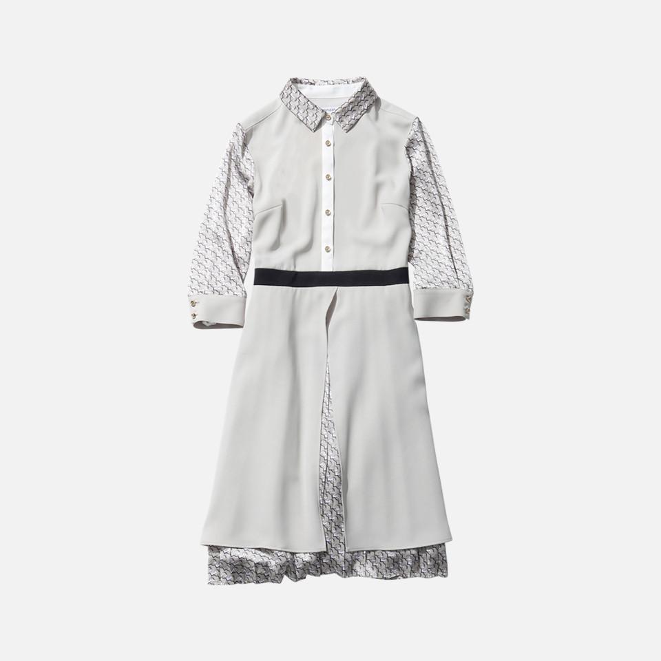 ジオメトリックシャツカラードレス