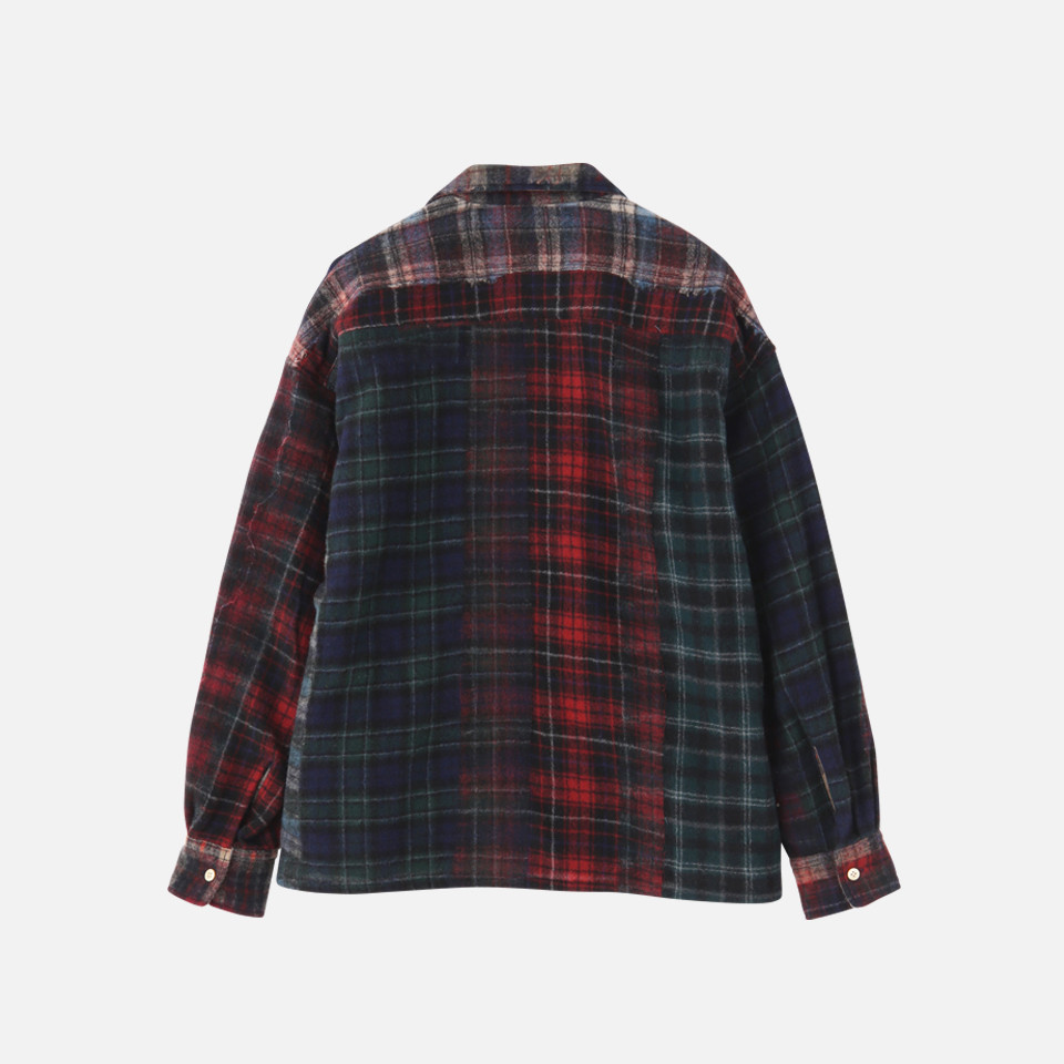 <SEVEN BY SEVEN>OPEN COLLAR SHIRTS- Needle punch wool check –