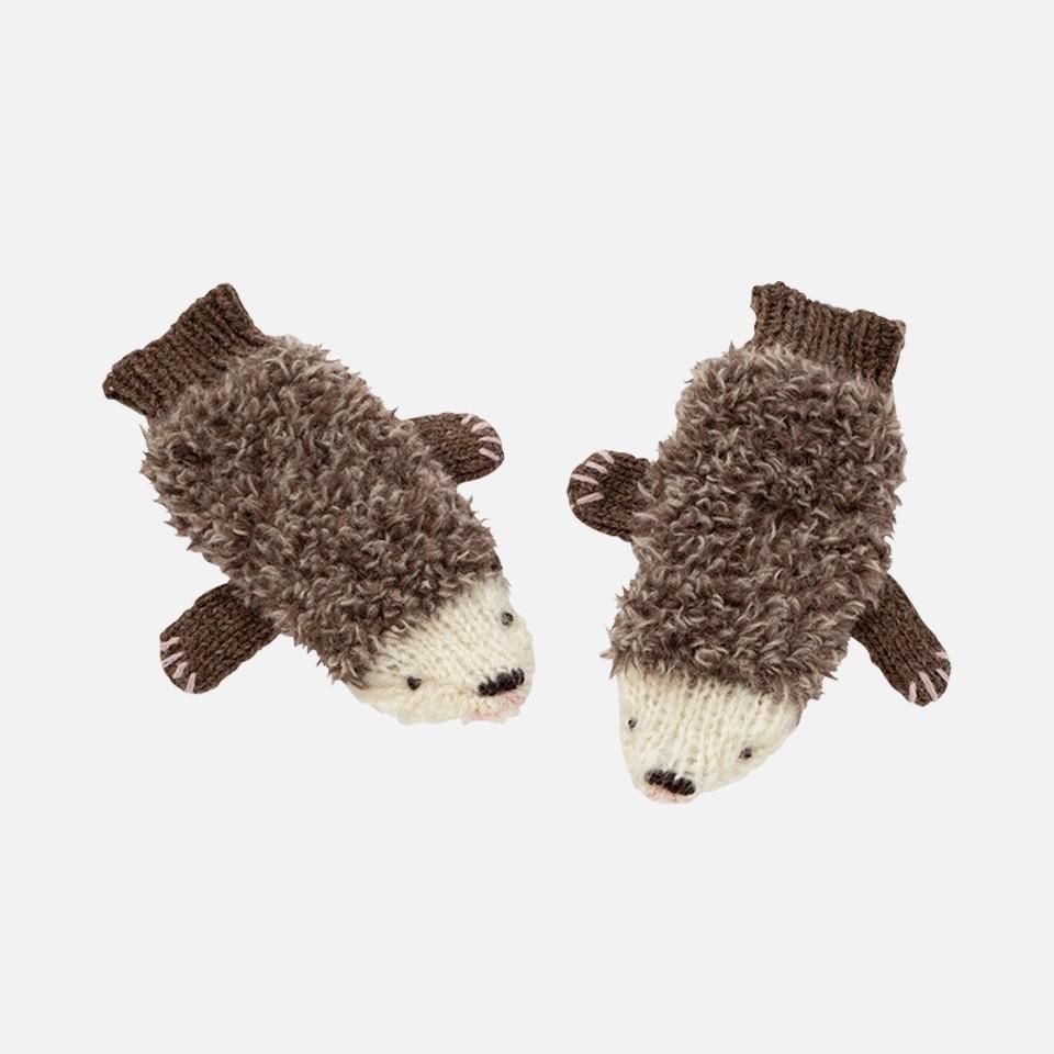 Mitten hand knitting kit of hedgehog