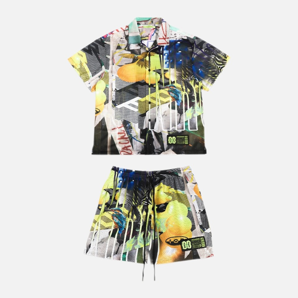 T.C.R PARADISE ALL OVER MESH SHIRT&SHORTS