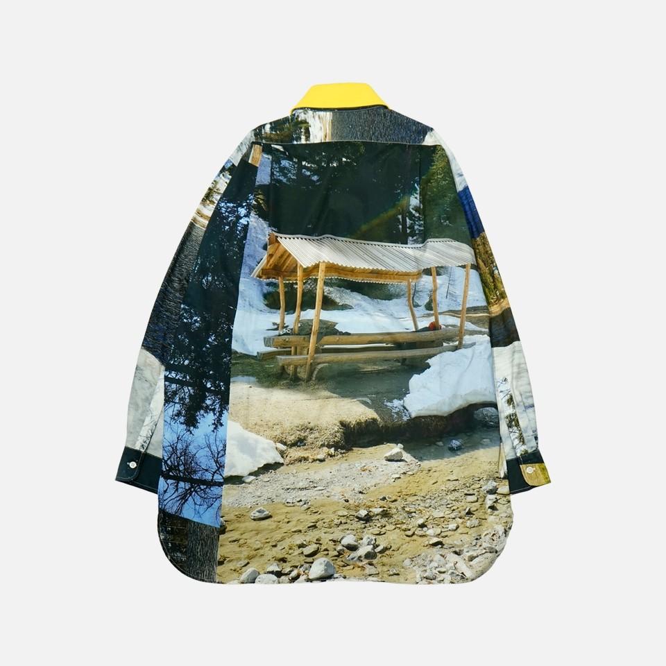 <PLAN C>ロングカルーセルプリントシャツ withデタッチャブルカラー