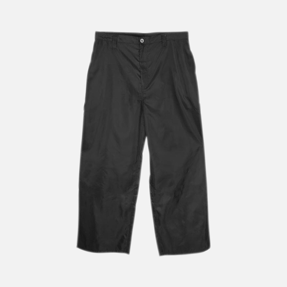 WIDE CHINO TROUSERS -BLACK-