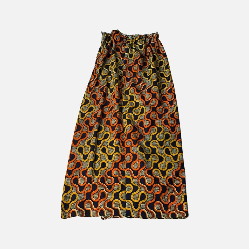 AFRICAN BATICK wrap Skirt (orange)