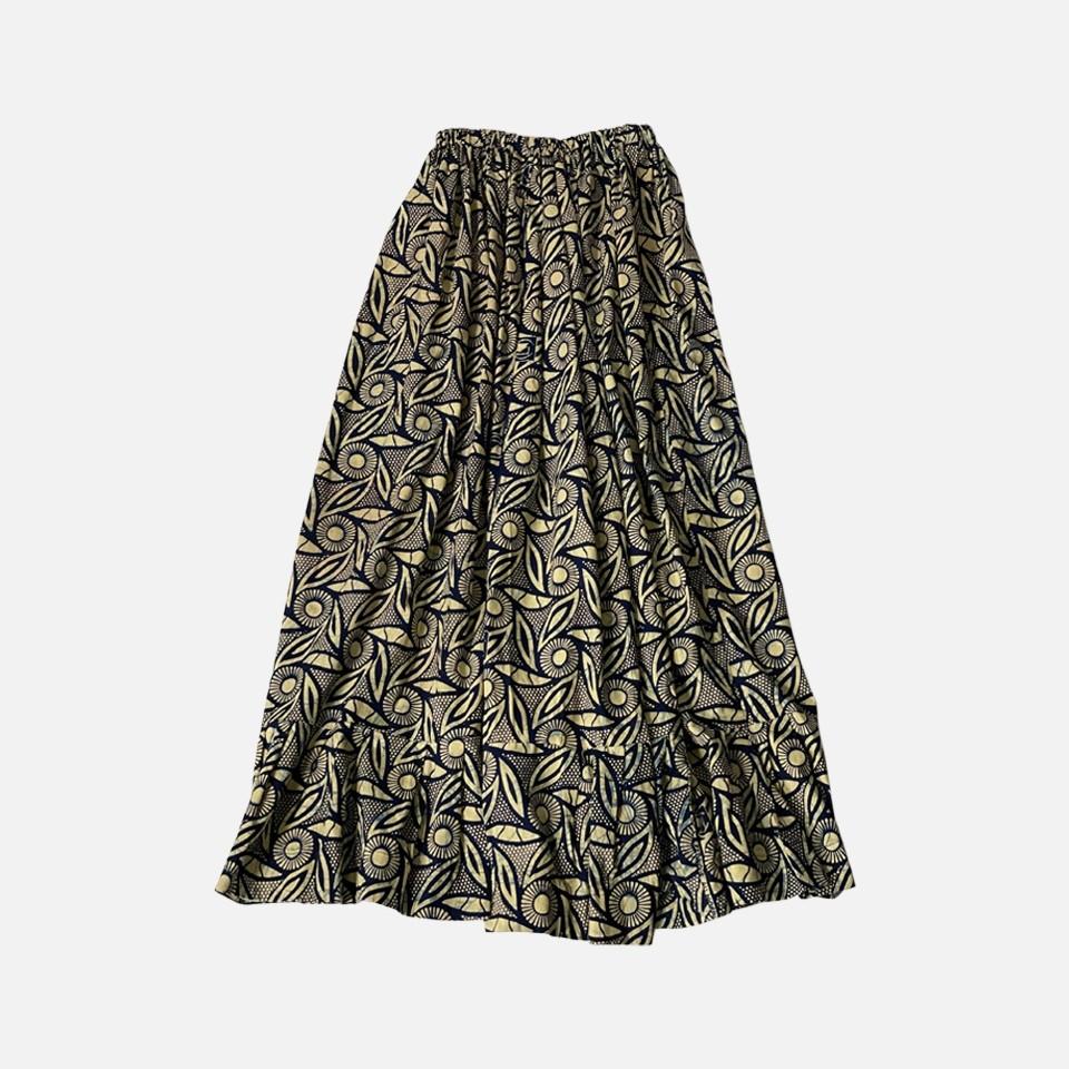 AFRICAN BATICK Long Skirt (navy)