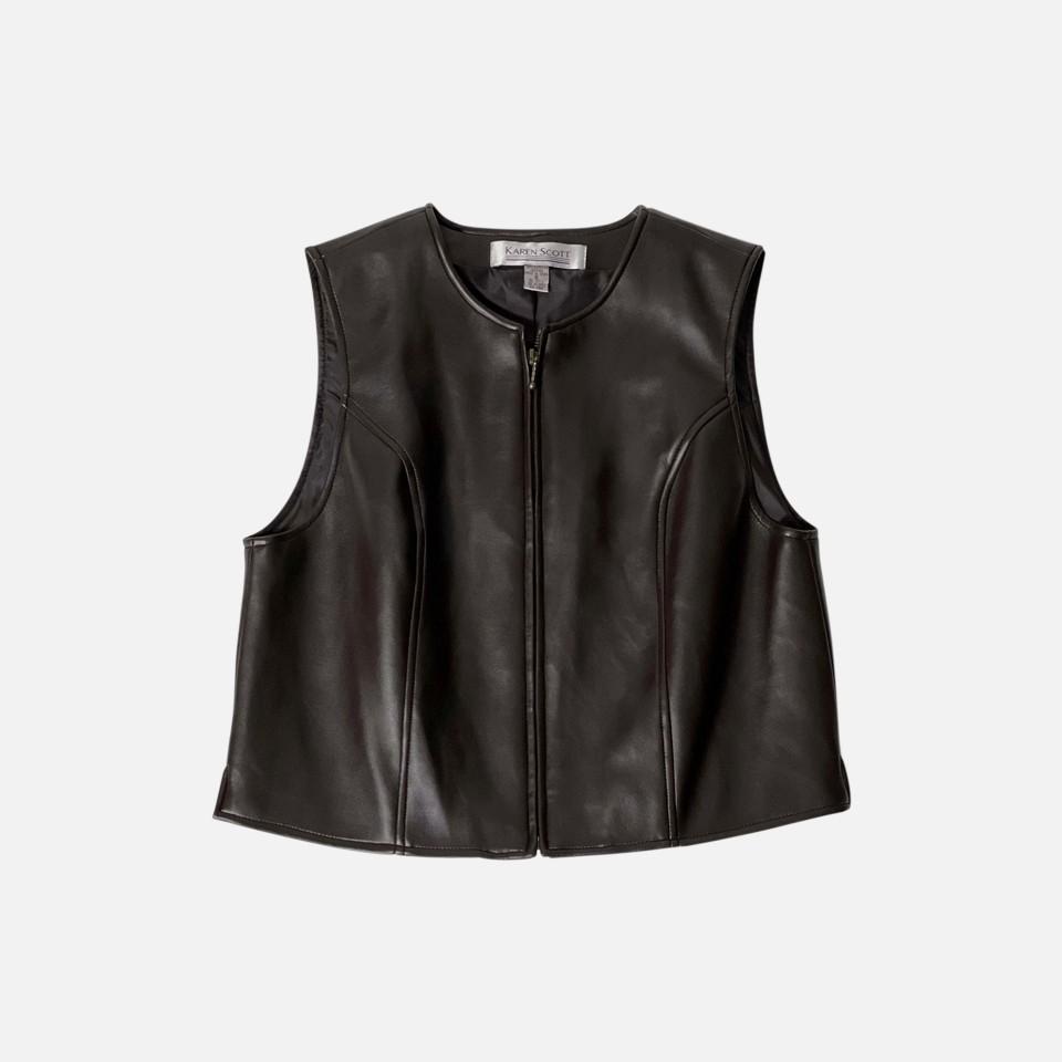 Imitationl Leather VEST 1990-2000s [ KAREN SCOTT]