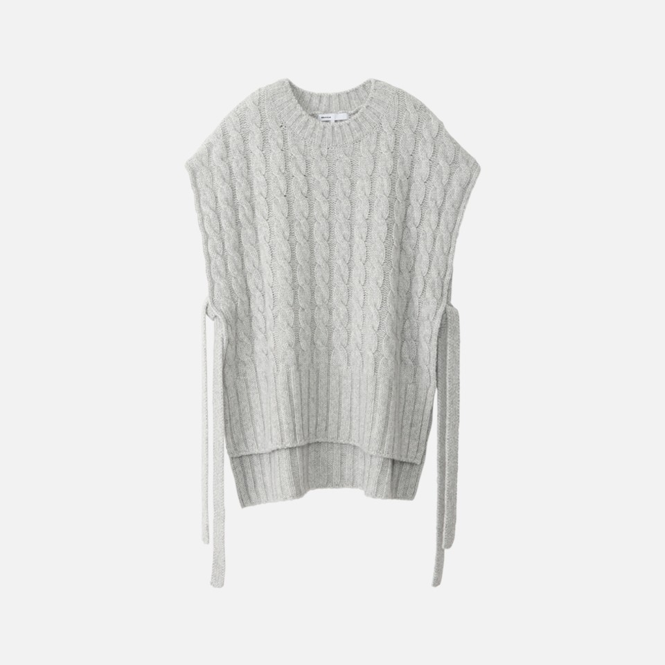Angora wool cable knit vest