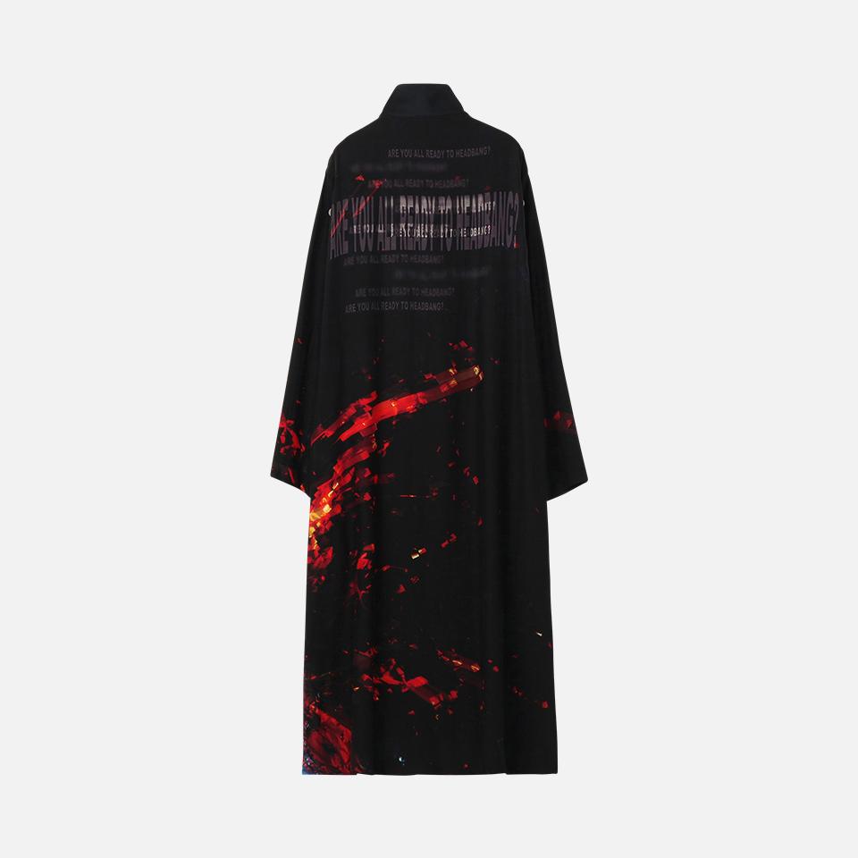 BABYMETAL シルクサテン 襟リブロングシャツドレス