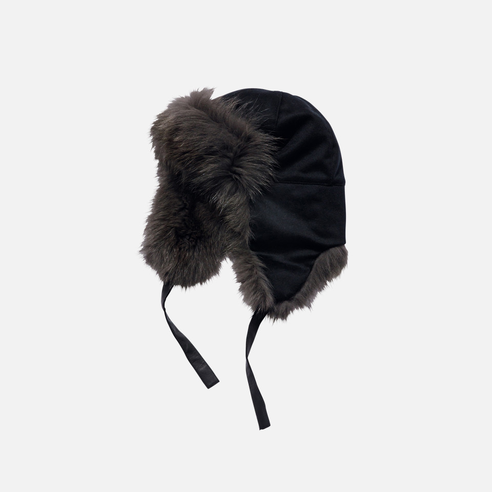 FOX FUR CASHMERE AVIATOR CAP