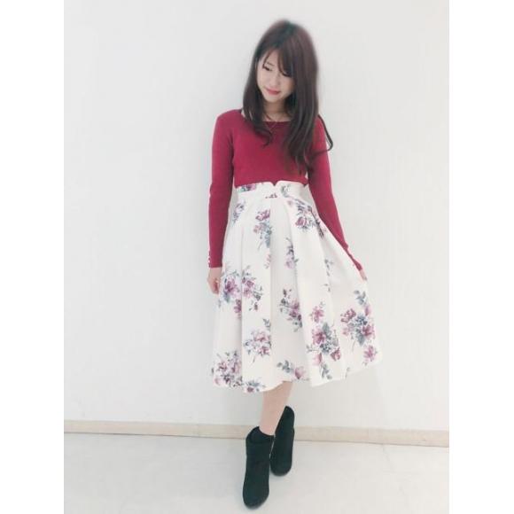 新作❤︎リブニット×花柄スカート