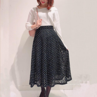 新作♡ニット×ドットスカート