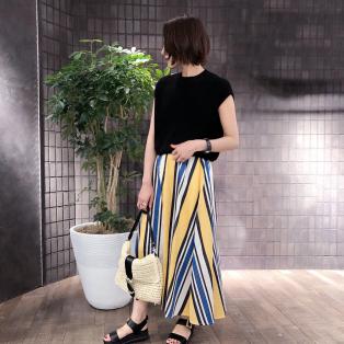 【夏らしい生地&マルチストライプ柄が大人っぽ♡スカートも明日からセール価格!】