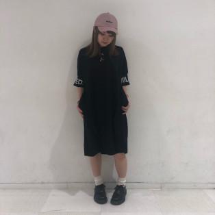 【ロゴがポイント♡】BIG LOGO RIB DRESS