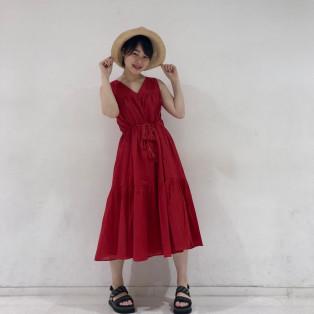 【ビビットカラーが可愛い!!】WAIST TASSEL DRESS