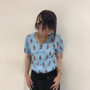 【メルヘ~ン!うさちゃんシャツ】X-GIRL X KOZIK PEPLUM S/S SHIRT
