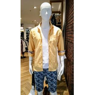 綿麻シャンブレーストレッチシャツ