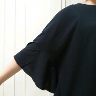 さらっとした綿麻の袖フリルTシャツ