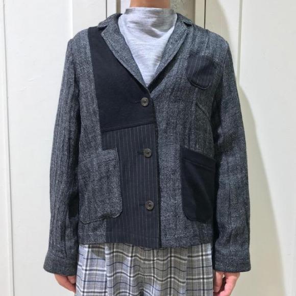 麻ウールパッチワークジャケット