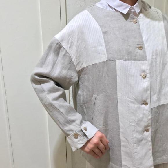 ノーカラーパッチワークジャケット
