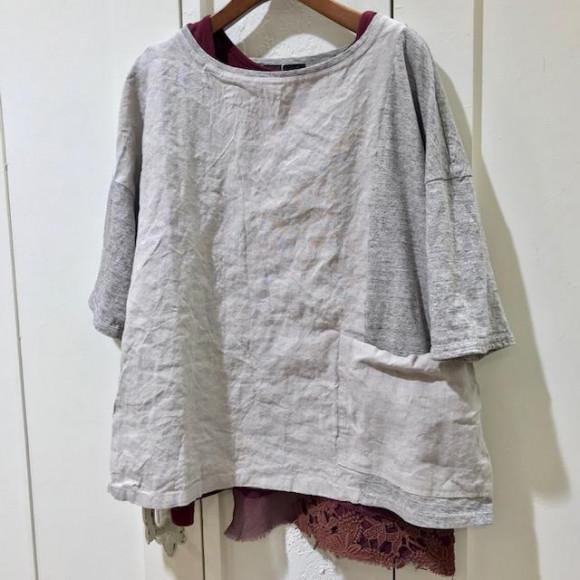 ポケットが可愛い♡リネンコンビTシャツ