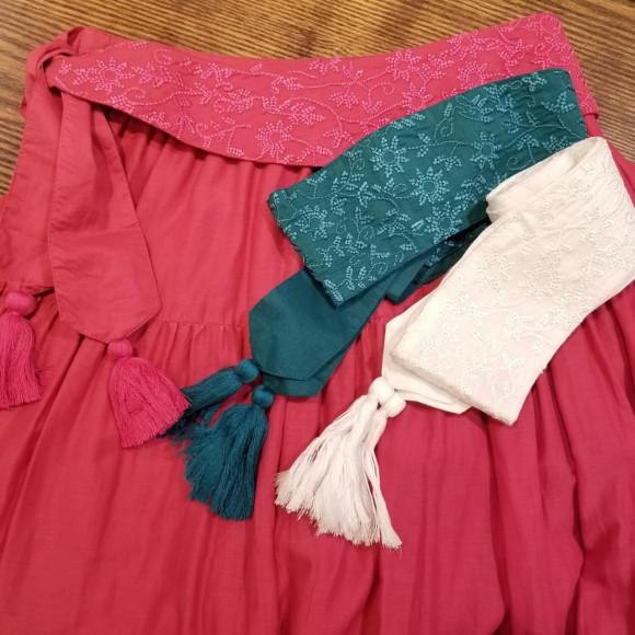 鮮やかなカラー展開が魅力的☆刺繍ベルト付きスカート.+*: