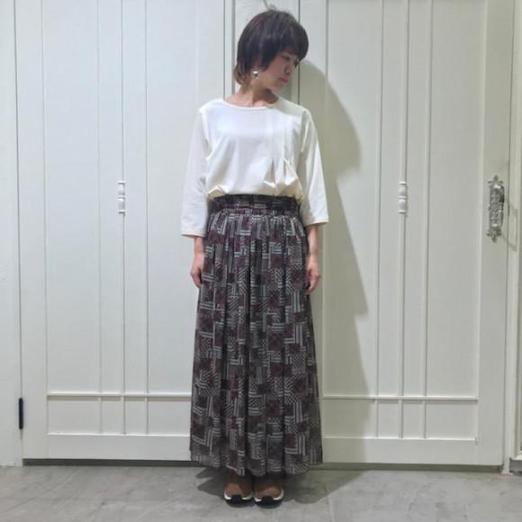 ヴィンテージファブリックハギプリントスカート