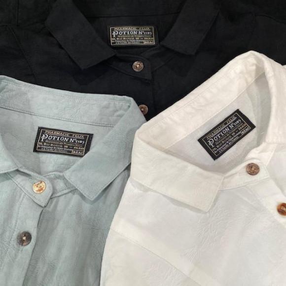 タンポポの綿毛柄のシャツ