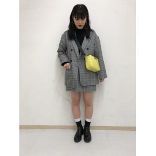 チェックタックタイトミニスカート〜片瀬〜