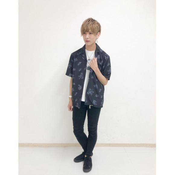 パターンプリントオープンカラーシャツ(S)〜大石〜