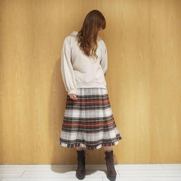 ざっくりツイードスカート