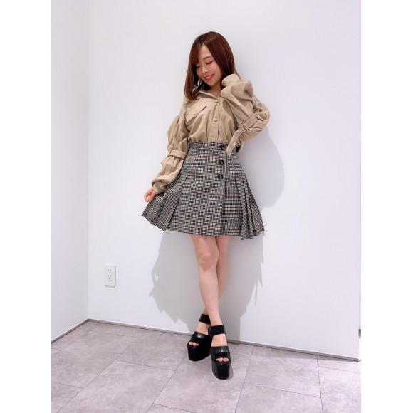 チェックミニスカ♡ボリューム袖シャツ
