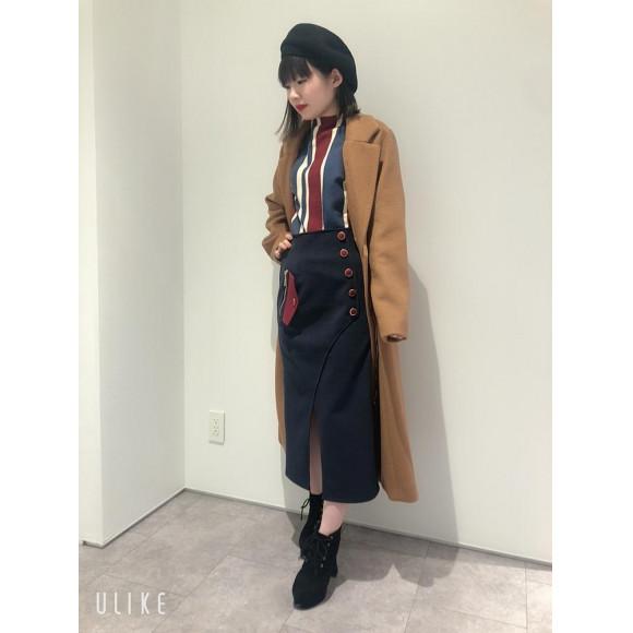 ☆マルチストライプタートル☆配色タイトスカート☆デザインチェスターコート