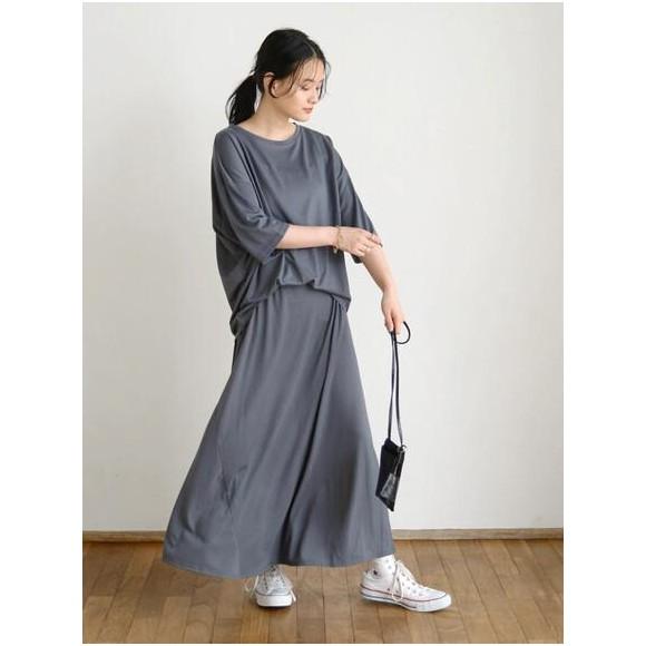 SET 5分袖カットプルオーバー+フレアスカート