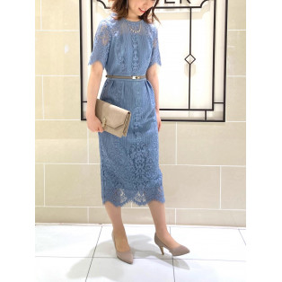 パネルレースタイトドレス*