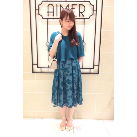 【SALE】花柄のオパール加工が上品な愛されドレスも50%OFF☆