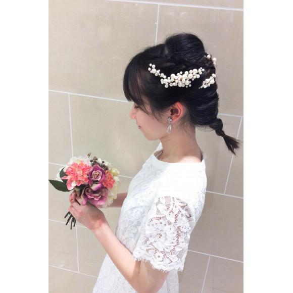パールのヘッドドレス♡で素敵なヘアアレンジを!