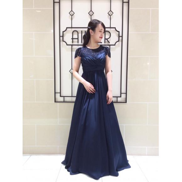 演奏会に♪ 結婚式の正式な洋装に♫  【ネイビーのロングドレス】