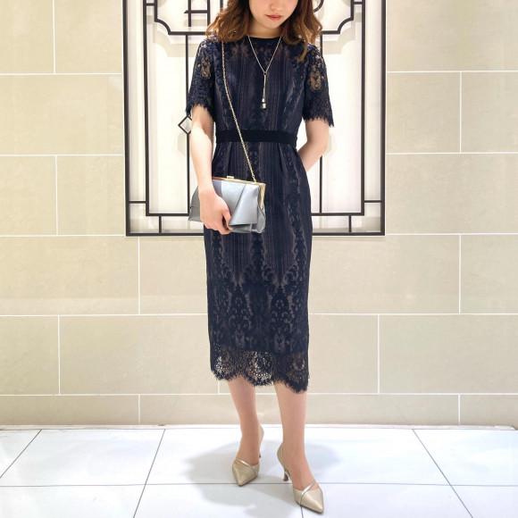 大人な雰囲気のパネルレースタイトドレス*