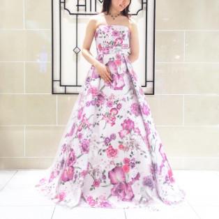 花々が咲き誇るカラーロングドレス*