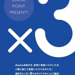 ダイアナポイント(DIAMO)3倍ポイントアップキャンペーン開催 4/15~19まで