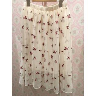 花柄刺繍チュールスカート♪