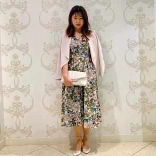 ボタニカル柄ドレス