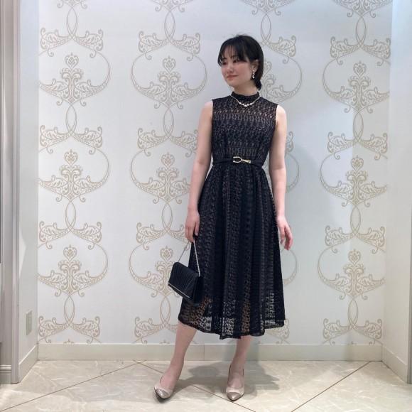 大人ボーダーレースドレス