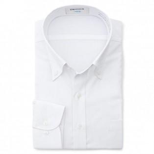 SUPER COOL&NON-IRON 一枚ヨーク 抗菌防臭 吸汗速乾 白 ボタンダウンシャツ 織柄