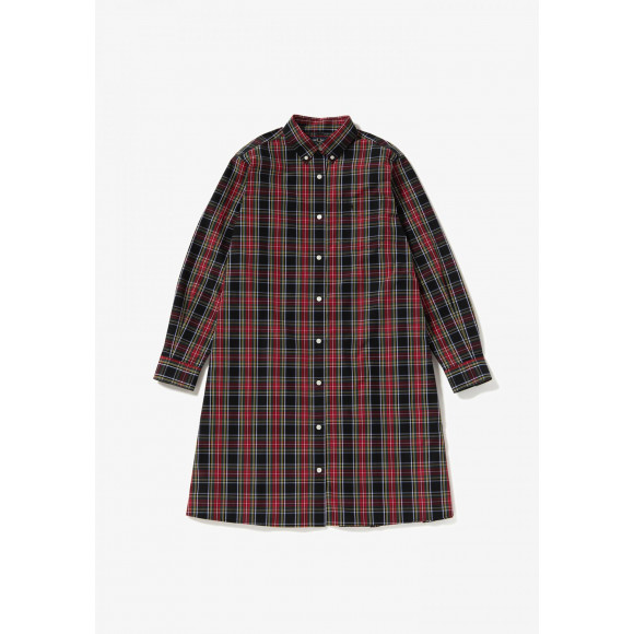 BACK TAPED TARTAN SHIRTDRESS