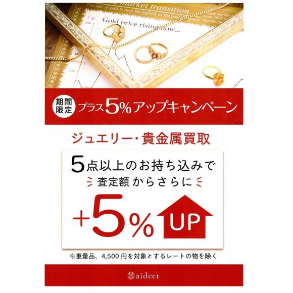 【期間限定】お買取査定+5%UPキャンペーン!!